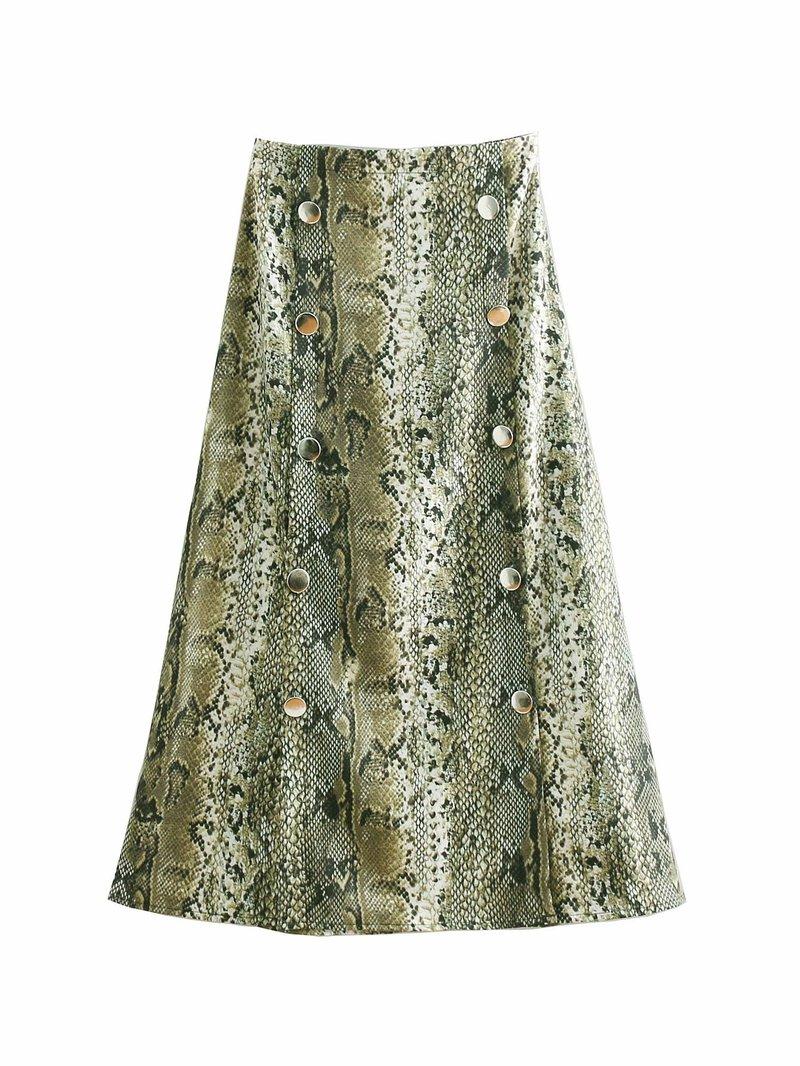 Stylish Snake Print Button Maxi Skirt