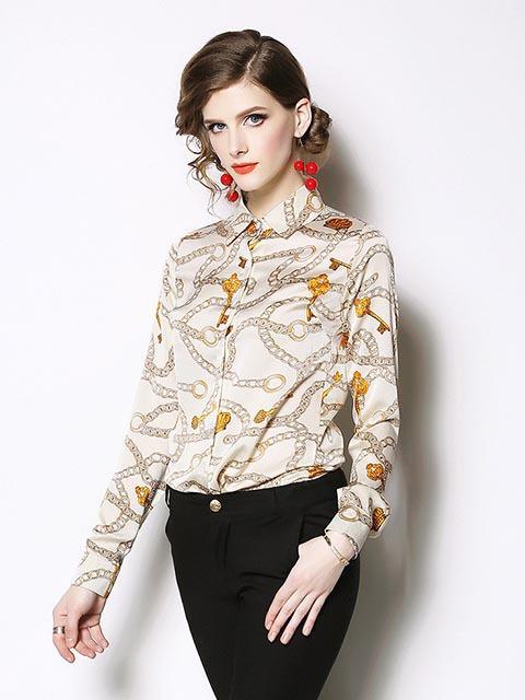 Fashionable Chain Printed Woman Blouse