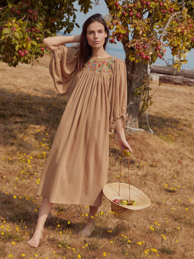 Bohemian Puff Sleeve Loose Embroidery Maxi Dress