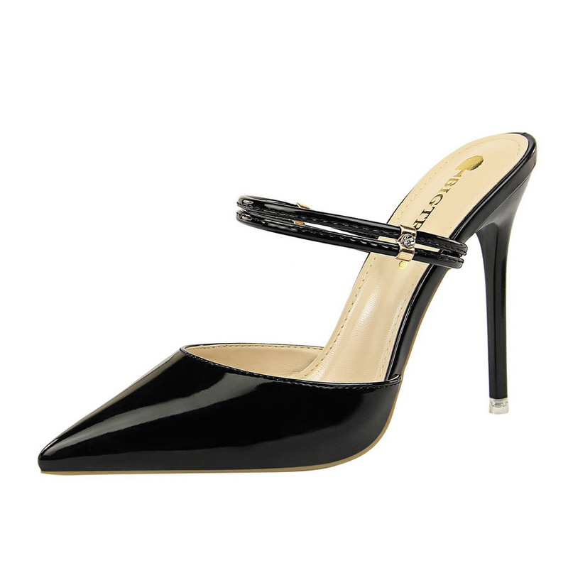 Metal Belt Pointed Patent Leather Stiletto