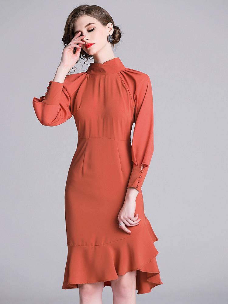 Fashionable Ruffles Mock Neck Lantern Sleeve Dresses