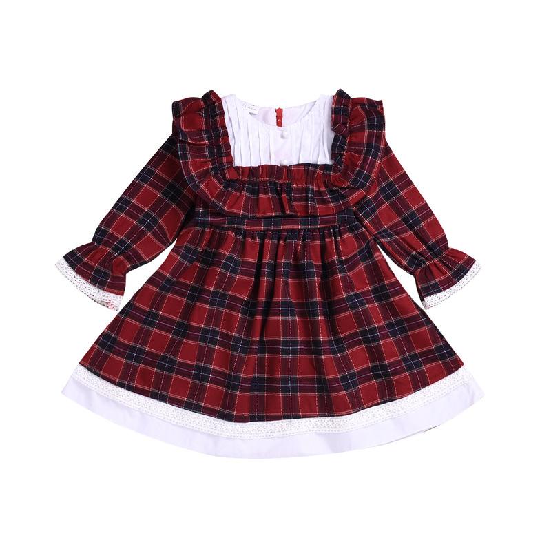 Plaid Patchwork Flare Sleeve Kids Dress