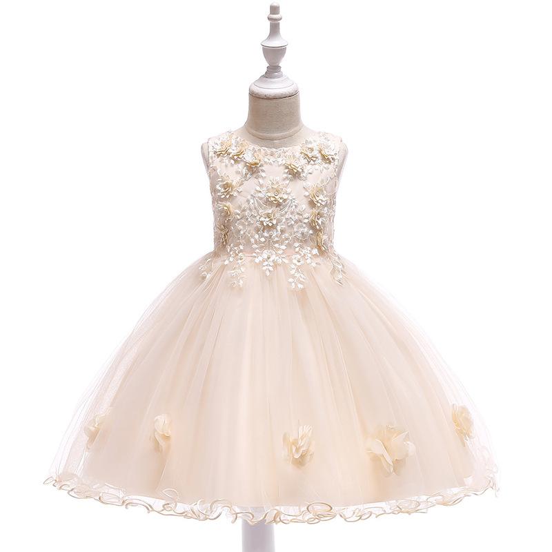 Sleeveless Stereo Flower Girls Fluffy Dresses