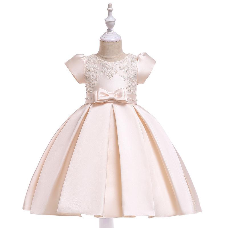 Performance Bow Beaded Girls Fluffy Dresses
