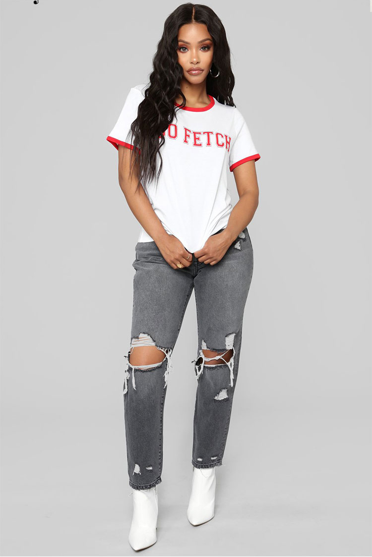 Stylish Worn Out Denim Jeans For Woman