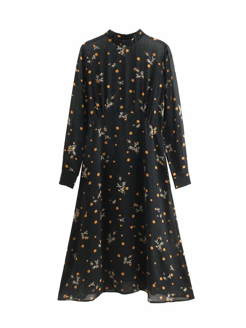 Polka Dot Printed Chiffon Long Sleeve Black Dress