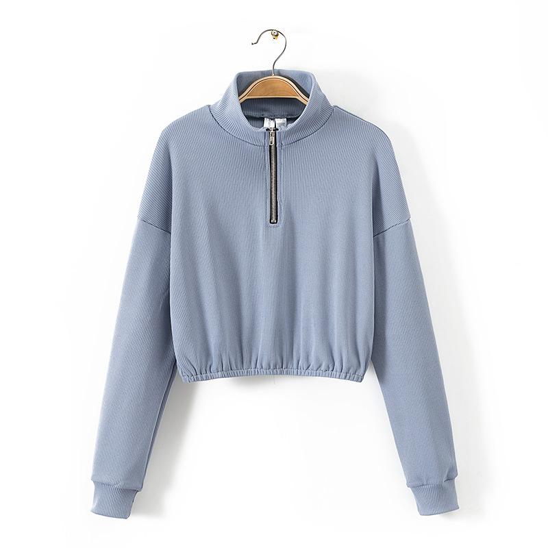 Stand Neck Half Zip Solid Long Sleeve Sweatshirt