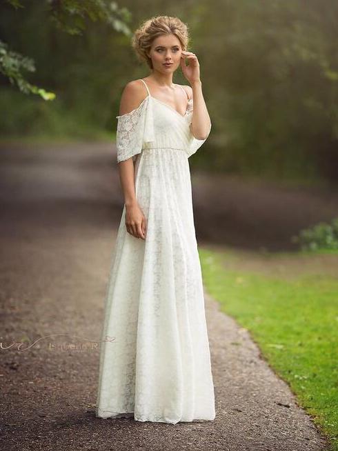 Lace Cold Shoulder Maternity White Maxi Dress