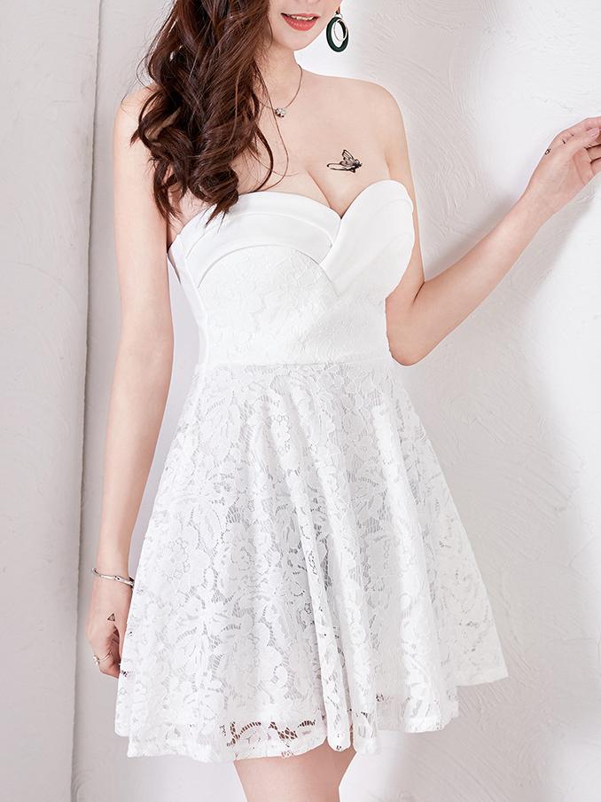Lace Deep V Neck Strapless Sexy Dress