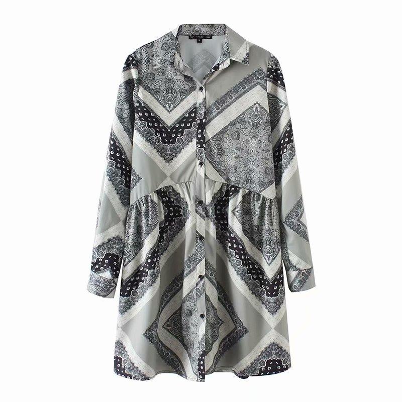 Euro Printed Spread Neck Shirt Dresses