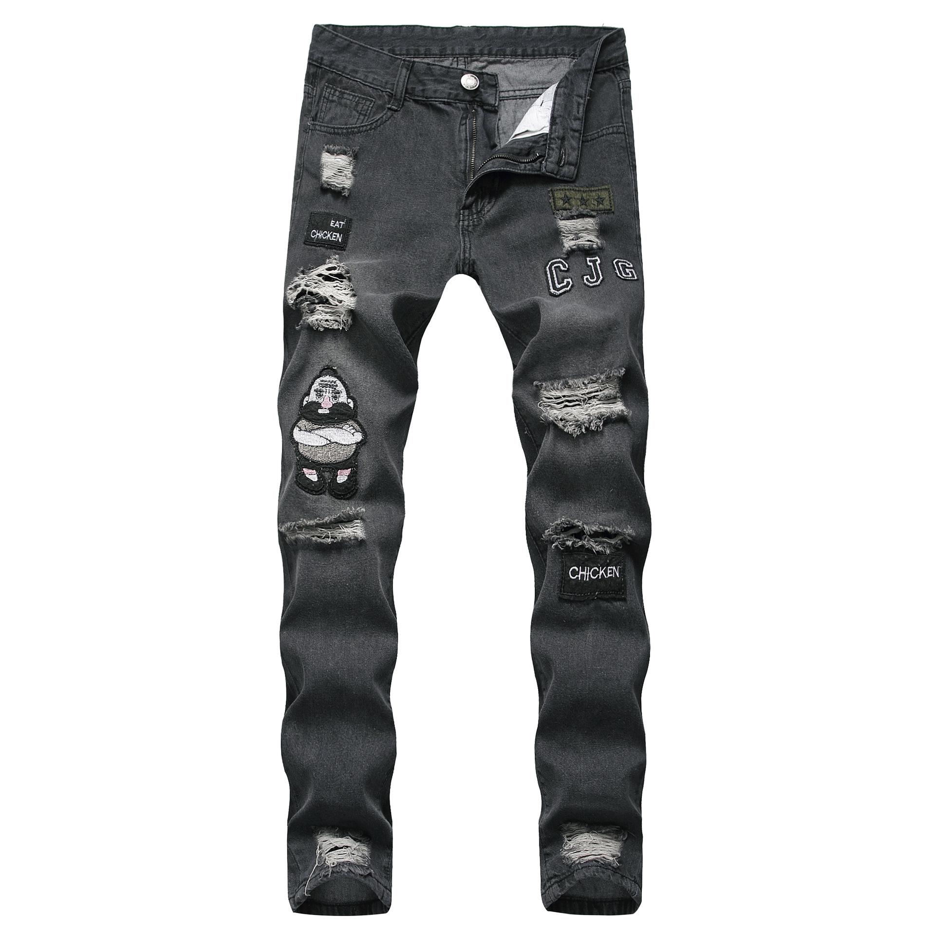 Hip Hop Style Worn Out Pencil Jeans For Men