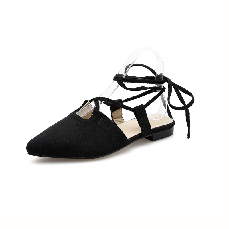 Vintage Style Pointed Suede Lace Up Flats