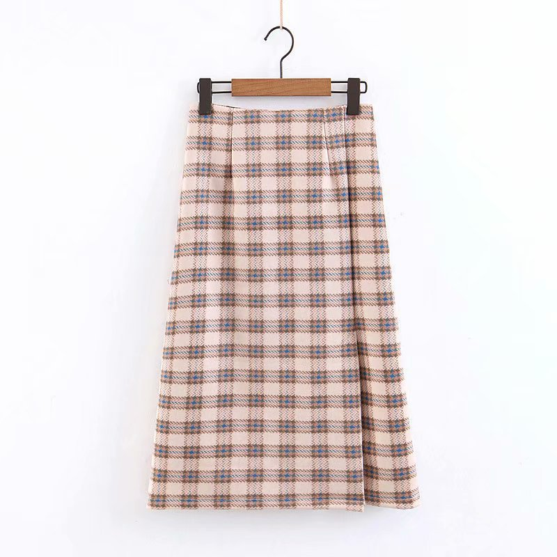Fashion Suede Plaid Zip Pencil Skirt For Women