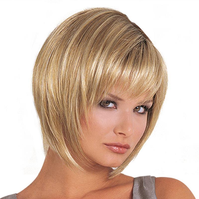 Side Bang Straight Short Blonde High Temperature FiberWigs