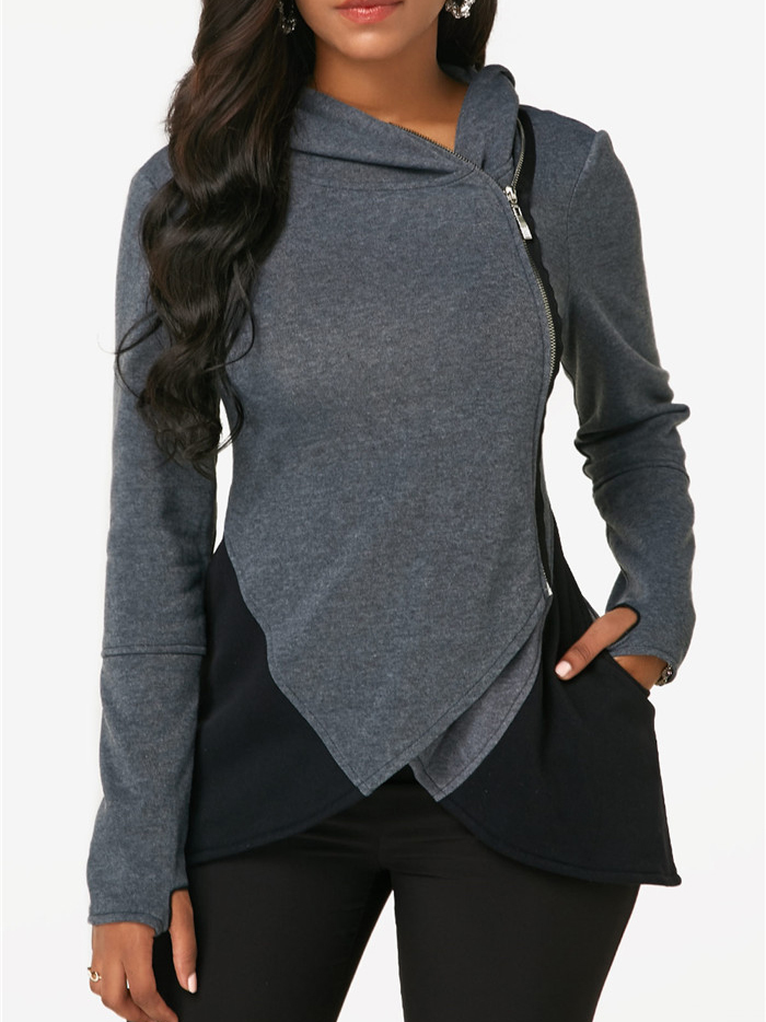 Casual Contrast Color Zip Fitted Hoodies