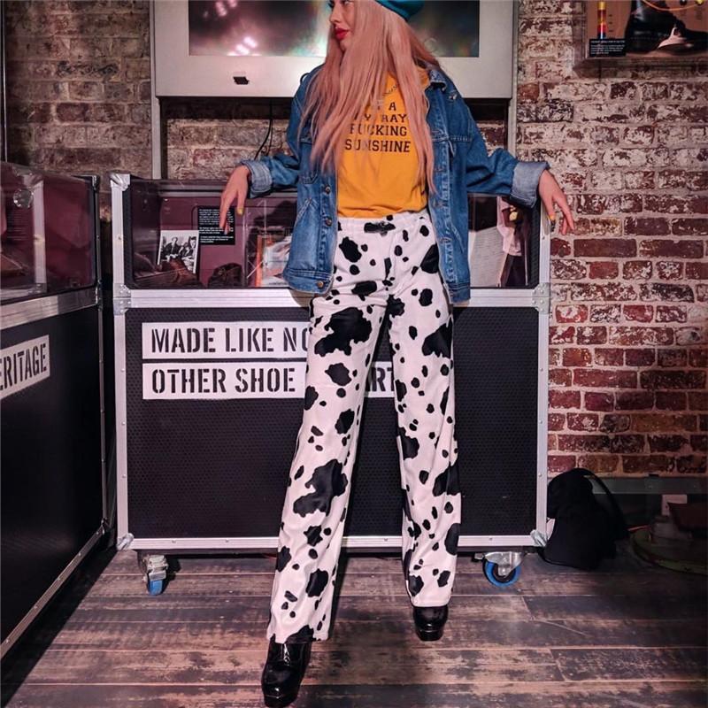 Hot Sale Cow Print Elastic Pants