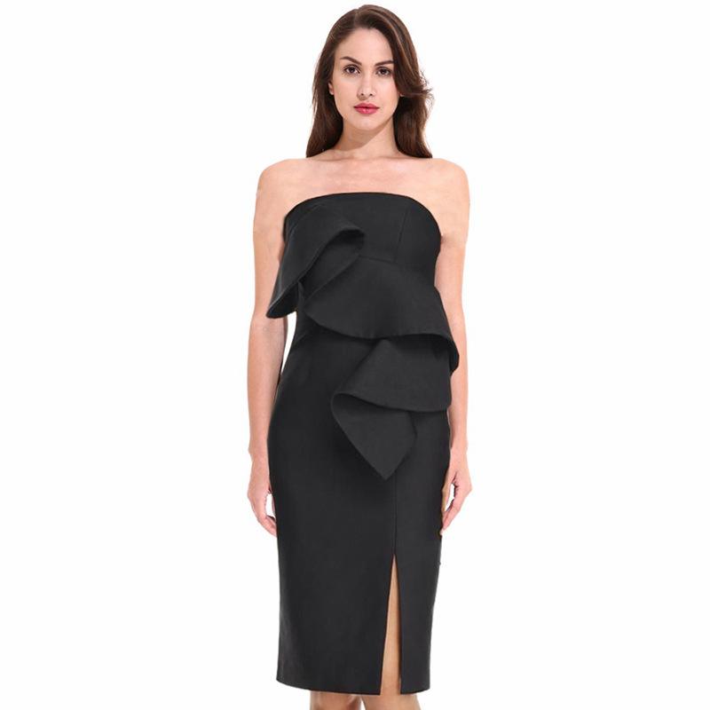 Stylish Ruffles Slit Black Strapless Dress