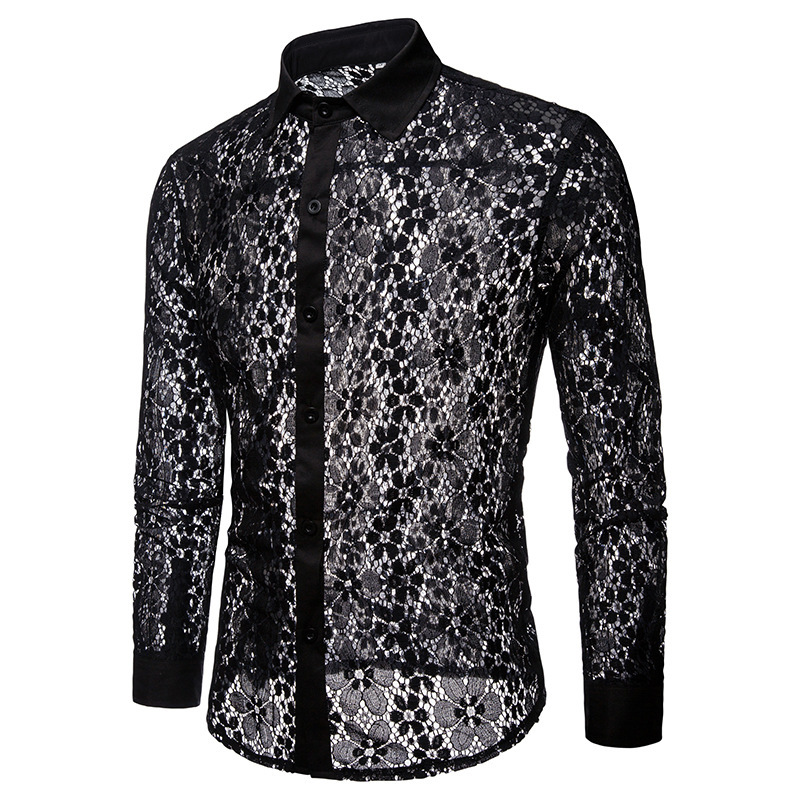Fashion Fitted Lace Long Sleeve Shirt For Men