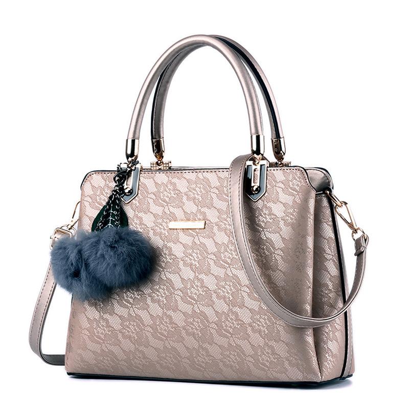 Euro Metal Floral Decor Large Capacity Handbag