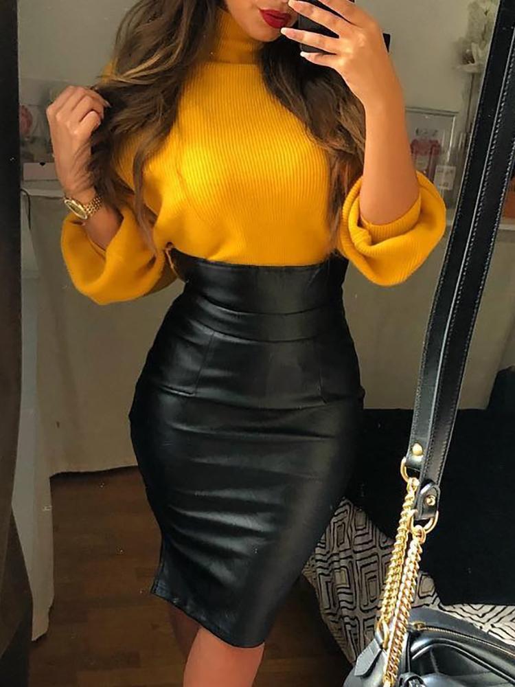 Euro High Waist Leather Black Pencil Skirt