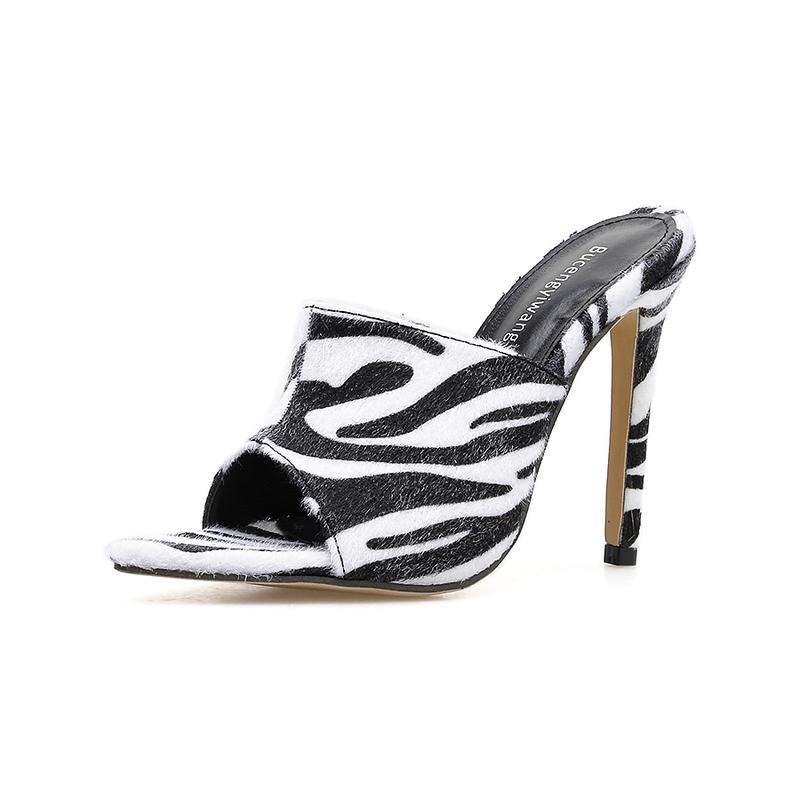Euro Zebra Print Peep-Toe Heeled Slippers