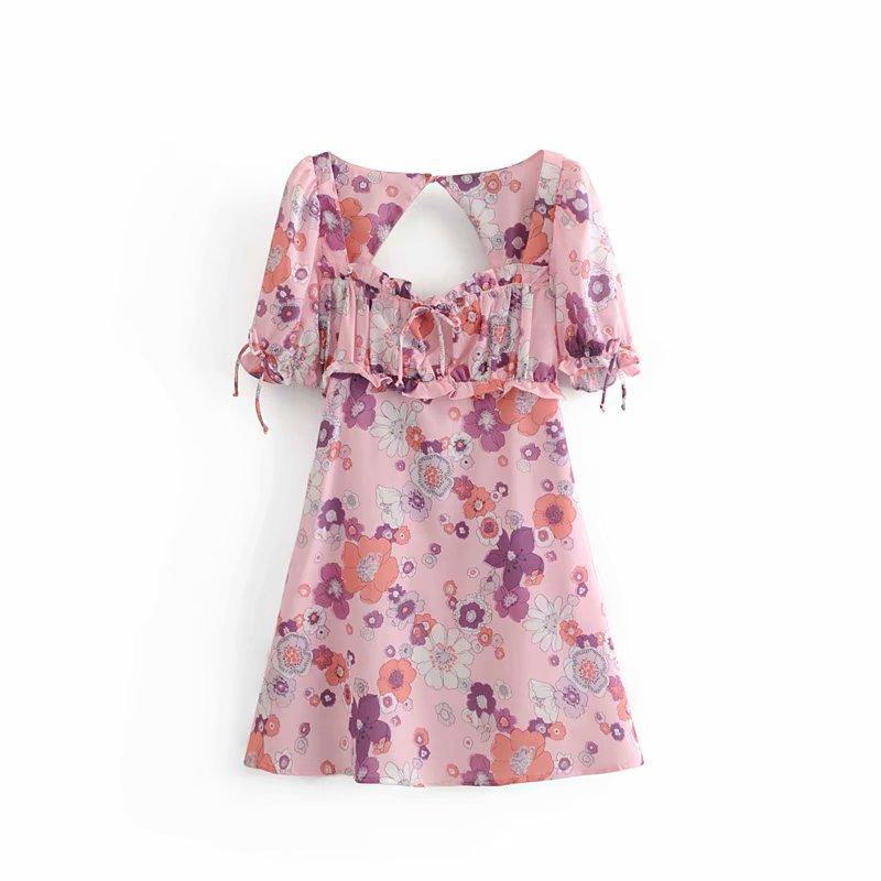 Flower Print Open Back Blush Short Sleeve