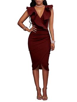 Free Shipping Graceful V Neck Ruffles Wrap Dress