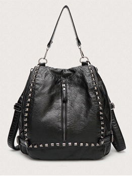Summer Solid Rivets Casual Backpack For Women