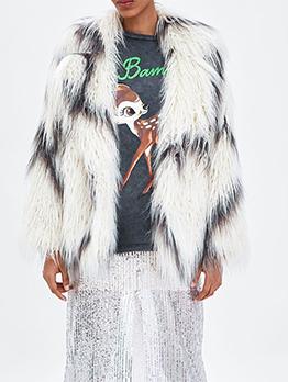 Winter Contrasting Colors Turndown Neck Fur Coat