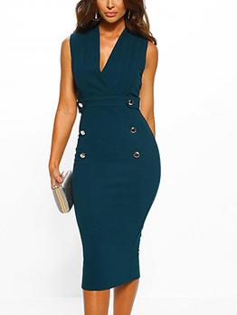 Fashion Solid Fited V Neck OL Style Dress