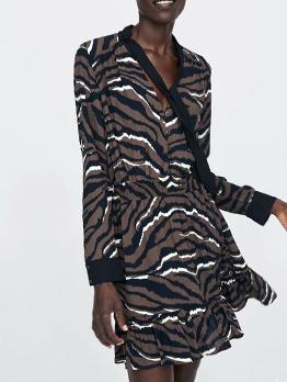 Trendy Zebra Tie-wrap Ruffle Black Long Sleeve Dress