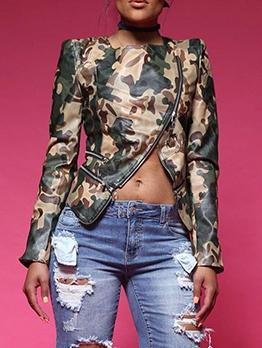 Hot Sale Irregular Zipper Camouflage Pu Jackets