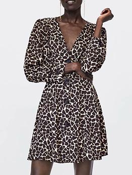 V Neck Button Longline Leopard Print Dress