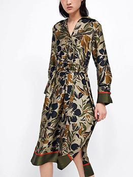 Vintage Binding Bow Turndown Collar Floral Dress