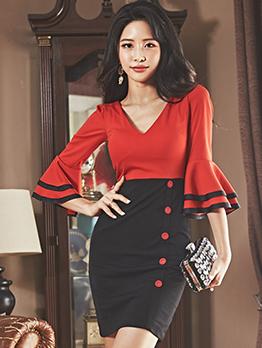 Sexy Contrast Color V-neck Flare Sleeve Bodycon Dress