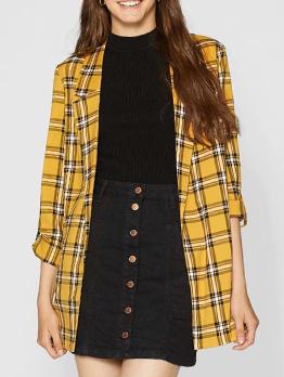 Check Lapel Cotton Yellow Loose Blazers