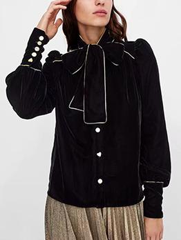 Winter Bow Collar Velvet Black Woman Blouse