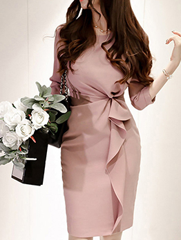 Elegant Ladies Twist Blush Ruffle Dress