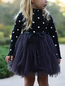 Knitted Polka Dot Patchwork Gauze Flower Girl Dresses