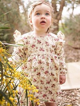 Stringy Selvedge Crew Neck Baby Girls Floral Dresses