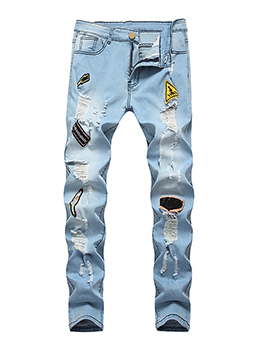 Hot Sale Patch Fitted Rinse Men Distressed Jeans