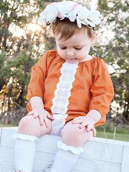 Leisure Patchwork Long Sleeve Baby Girls Onesies