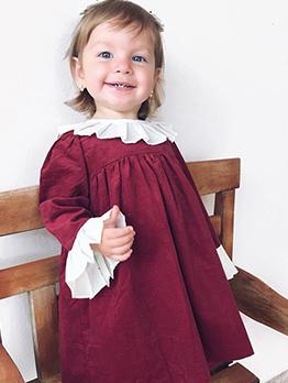 Contrast Color Ruffle Fashion Girls Dresses