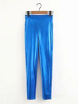 Euro Style Solid Punk Loose Women Blue Leggings