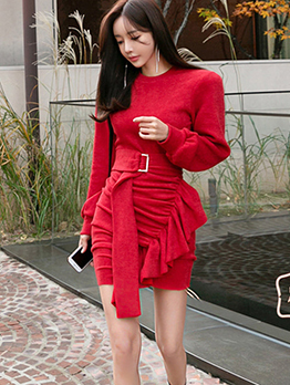 Fashion Ruffle Knitted Fitted Pleated Dress