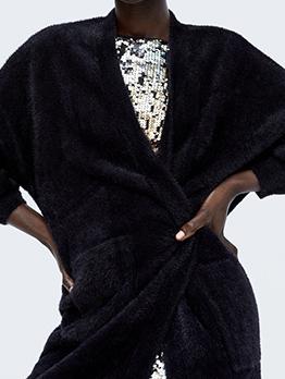 V Neck Pockets Loose Plain Knitting Cardigan