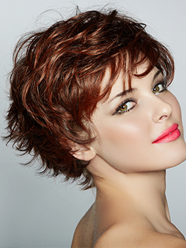 Hot Sale Fluffy Short Side Bang Synthetic Wigs For Women