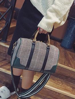 Large Capacity Colorblock Plaid Handbag For Women