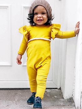 Stringy Selvedge Crew Neck Yellow Baby Sleepsuits