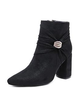 Fashion Solid Rhinestone Chunky Heel Women Martin Boots
